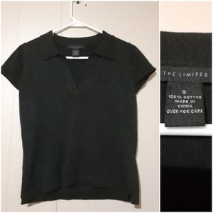 The Limited black v neck collared top small shirt